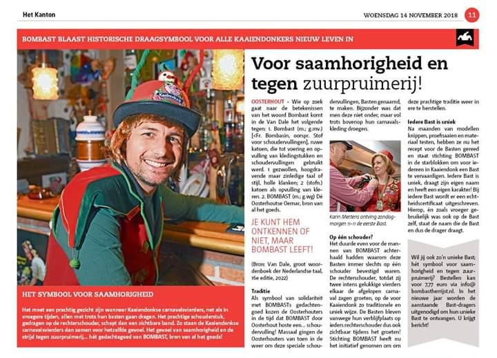 BOMBAST in Weekblad Oosterhout